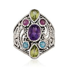 Multi-Stone Ring in Sterling Silver  3 ct.