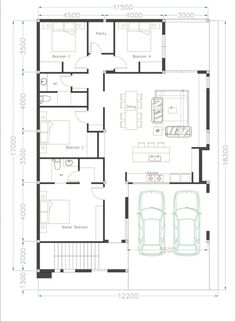 Building a Four Bedroom One Storey House for your lot requires at least meters frontage and meters depth or 260 square meters. Modern Bungalow House Design, Small House Design, Home Design Plans, Plan Design, Small House Floor Plans, House Plans, One Storey House, Roof Deck, Story House