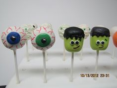 Bloodshot Eye Ball & Frankenstein Cake Pops