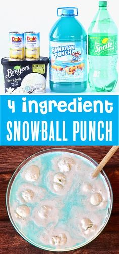 Snowball Blue Party Punch Recipe! {Just 4 Ingredients} - The Frugal Girls