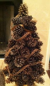 Create these unique homemade Christmas decorations. These Pine Cone Trees are a great DIY craft to start off the holiday season.