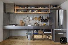 Loft Kitchen, New Kitchen, Kitchen Dining, Kitchen Decor, Kitchen Cabinets, Open Kitchen Interior, Industrial Kitchen Design, Industrial Kitchens, Japanese Kitchen