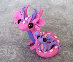 Sparkly Pink Mama and Lilac Baby by DragonsAndBeasties on Etsy