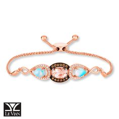 This exquisite bolo bracelet by Le Vian® features an oval Peach Morganite™ encircled by rich Chocolate Diamonds®, flanked on each side by a pear-shaped Neopolitan Opal™, in 14K Strawberry Gold®.  An adjustable bolo clasp allows the bracelet to fit wrist sizes up to 9 inches in length.