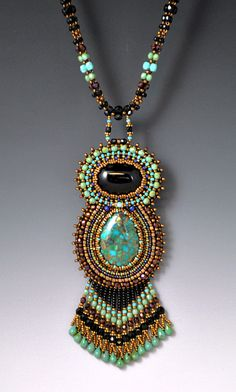 Bead Embroidered, Beadwork, Beadwoven, Turquoise Goddess Necklace. $348.00, via Etsy.