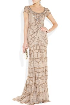 TEMPERLEY LONDON-Long Poison embellished tulle gown