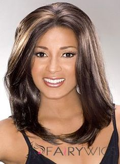 Online Medium Straight Brown African American Lace Wigs for Women