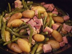 Ham and Green Beans-Crock Pot recipe for a no heat in the kitchen dinner