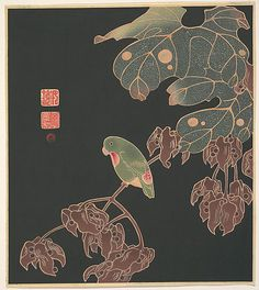 The Paroquet  Itô Jakuchû  (Japanese, 1716–1800)  Period: Meiji period (1868–1912) Date: ca. 1900 Culture: Japan Medium: Polychrome woodblock print; ink and color on paper
