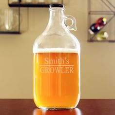 Custom etched and equipped with a screw top lid, our unique, 64oz. Home Brew Beer Growler makes a great gift idea for groomsmen, Father's Day and Christmas.