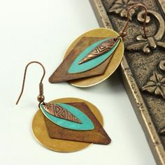Southwestern Jewelry | Southwestern Jewelry Earrings Teal Blue Gold Brass Patina Mixed Metal. Love these, except for the outer circles.