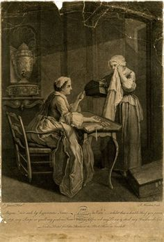 Interior with woman sitting at a table, gesturing at a pile of coins and dismissing her servant, who stands weeping before her on the right, holding a chest under her arm; after Jeaurat.  Mezzotint