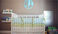 Quarto de bebê marrom e azul com toque de verde | Quarto de bebê - Decoração, bebês, gravidez e festa infantil