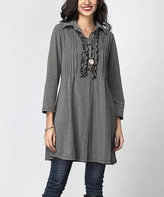 Charcoal Pin-Tuck Button-Front Ruffle Sweater Tunic