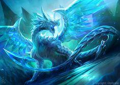 dragon blanco de ojos azules