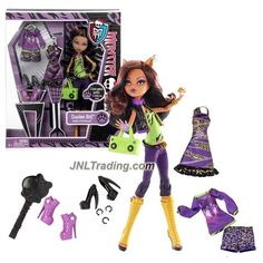 """Mattel Year 2013 Monster High """"I Love Fashion"""" Series Exclusive 11 Inch Doll Set - CLAWDEEN WOLF """"Daughter of The Werewolf"""" with 3 Gore-geous Outfits, Purse, Hairbrush and Doll Stand"""