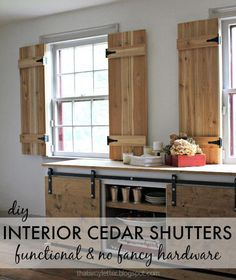How to build totally functional Interior Cedar Shutters using readily available supplies. wood shutters how to build DIY Interior Cedar Shutters House, Interior, Interior Windows, Home, Interior Barn Doors, Shutter Doors, Interior Shutters, Cedar Shutters, Diy Interior