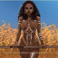 Ebony Warrior by lupe Black Love Art, Black Girl Art, My Black Is Beautiful, Art Girl, African American Art, African Art, Fantasy Women, Fantasy Art, Arte Black