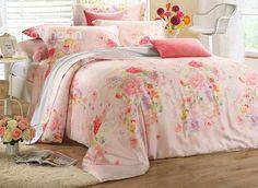 Bright Pastoral Style Flower Print 4-Piece #Tencel #Bedding #Sets