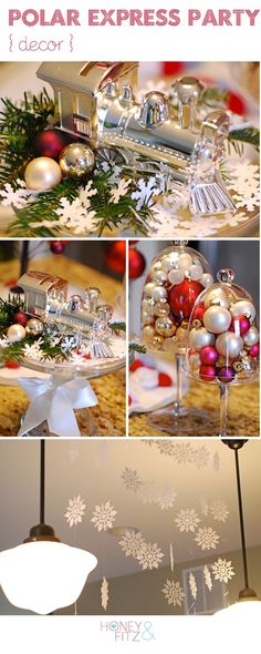 Polar Express Party, Recipes  Free Printables: snowflakes in the living room