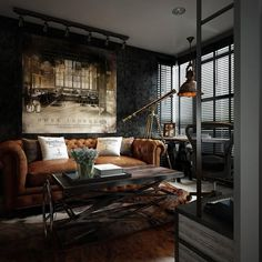 Here you may find out Amazing Home design for your Home. Certainly, it can help you a lot to make it looks great. Visit Dark Color For Small Apartment Interior Design With Exposed Brick Walls to learn more. Loft Estilo Industrial, Industrial Apartment, Industrial Living, Industrial Interiors, Urban Industrial, Industrial Style, Industrial Design, Kitchen Industrial, Vintage Apartment