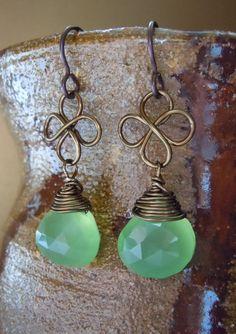 Lucky St. Patricks Day 4 Leaf Clover Celtic Earrings      http://www.etsy.com/listing/94673735/lucky-st-patricks-day-4-leaf-clover