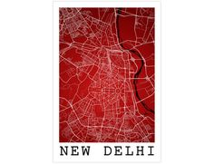 New Delhi Street Map, New Delhi India, Modern Art Print