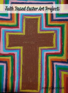 Start by drawing a cross in the center and color in using oil pastels – I used brown, but you could use any color for your cross. Take another color and go around the cross with a thin line, continue using different colors for each layer until you reach the edges of the paper.