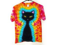 Tie Dye Shirt / Kids Black Cat Tie Dye Shirt/ by SunflowerTieDyes