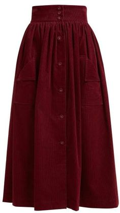 The Vampire's Wife - Visiting Button Front Cotton Corduroy Midi Skirt - Womens -. The Vampire's Wife - Visiting Button Front Cotton Corduroy Midi Skirt - Womens - Burgundy Muslim Fashion, Modest Fashion, Hijab Fashion, Fashion Dresses, Women's Fashion, Work Fashion, Unique Fashion, Fashion Boots, Fashion Ideas
