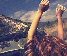Road trip top down hands up