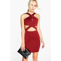 Boohoo Petite Petite Julia Cross Over Detail Bodycon Dress ($26) ❤ liked on Polyvore featuring dresses, merlot, red dress, party dresses, red maxi dress, sequin party dresses and red bodycon dress