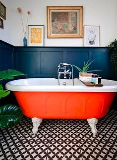 That orange roll top though…. Jim Berg - Best Home Deco Eclectic Bathroom, Bathroom Interior, Small Bathroom, Colorful Bathroom, Red Bathroom Decor, Stone Bathroom, Bathroom Goals, Bathroom Colors, Bathroom Accessories