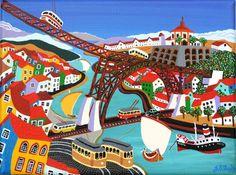 Porto - PORTUGAL - J. B. Durão Lisbon Tram, Hotels For Kids, Naive Art, Travel Posters, Art For Kids, Folk Art, Illustration, Artwork, Painting