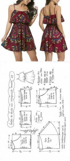 Vestido de alcinha com babado sobreposto | DIY - molde, corte e costura - Marlene Mukai
