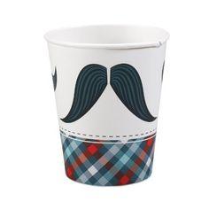 Little Man Mustache 9 oz. Paper Cups (8)