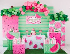Watermelon Birthday Parties, Fruit Birthday, First Birthday Parties, First Birthdays, Birthday Bash, Birthday Ideas, Watermelon Party Decorations, Watermelon Centerpiece, Paris Birthday