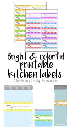Bright and colorful printable kitchen labels