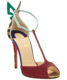 CHRISTIAN LOUBOUTIN Christian Louboutin Aribak 100 Glitter &Amp; Haircalf T Strap Sandal'. #christianlouboutin #shoes #sandals