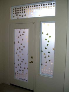 Falling Squares Entry - etched glass door window entry falling squares pattern - by Sans Soucie Art Glass