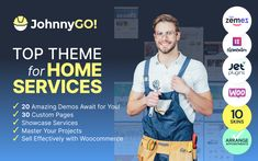 Meet the Powerful and Multifunctional JohnnyGo Home Services WordPress Theme for Developing Your Business Ideas Nowadays business promotion is the most important and difficult part of real success. It became easy to achieve after appearing of JohnnyGo home services WordPress theme. This wonderful template will help you to make your business more prosperous and reach the top in the search results list. Best Free Wordpress Themes, Premium Wordpress Themes, Themes Free, Event Landing Page, Mega Menu, Modern Website, Homepage Design, Creative Company, Website Themes