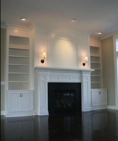 Custom fireplace and built-in bookcase by www.PrestigeHomes… Custom fireplace and built-in bookcase by www. Built In Bookcase, Family Room Design, Fireplace Design, Family Room, Custom Fireplace, Home Remodeling, New Homes, Basement Remodeling, Fireplace Built Ins