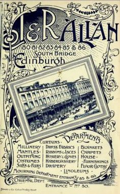 Vintage Victorian Advert for J & R Allan's Department Store, Edinburgh, Scotland 1894 by CharmaineZoe, via Flickr