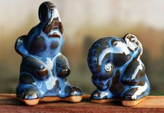 'Happy Elephants,' Dark Blue Celadon #Ceramic Elephants.