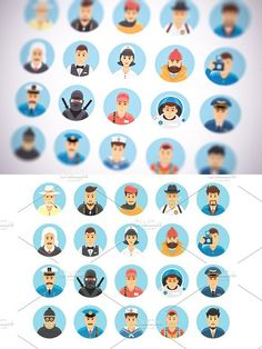 Flat vector persons icons set. Human Icons. $12.00