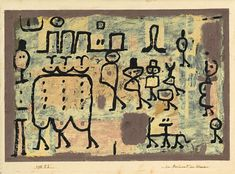 Paul Klee (1879-1940), der Boulevard der Abnormen (The Boulevard of the Abnormal Ones), 1938 (46). Sticky colours on newspaper paper on cardboard. 33.2cm H x 49cm W.