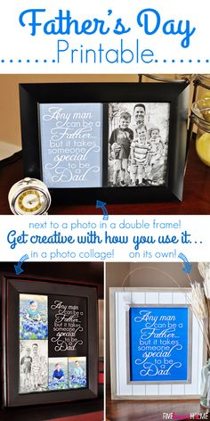 Father's Day Free Printable: Dad Quote ~ frame on its own, next to a photo, or as part of a collage; available in 2 sizes and 3 colors Dad Quotes, Father Quotes, Daddy Gifts, Gifts For Dad, Daddy Day, Vinyl Gifts, Father's Day Diy, Mother And Father, Mothers