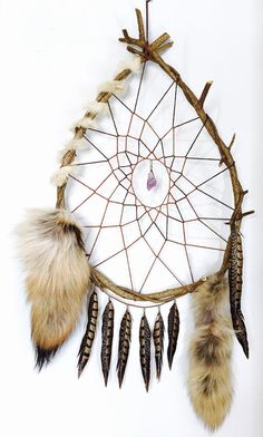 Large Vine Dream Catcher with Coyote Tails, Amethyst Crystal, Rabbit Fur and Pheasant Feathers Huge Dreamcatcher Natural Bohemian Giant