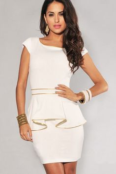 Ivory Gold Trim women work wear Peplum Dress women summer clothes LC2817 vestido Free shipping Drop shipping  $18.51