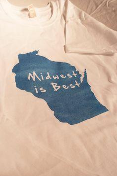 Women's Wisconsin 'Midwest is Best' T-Shirt. $12.00, via Etsy.